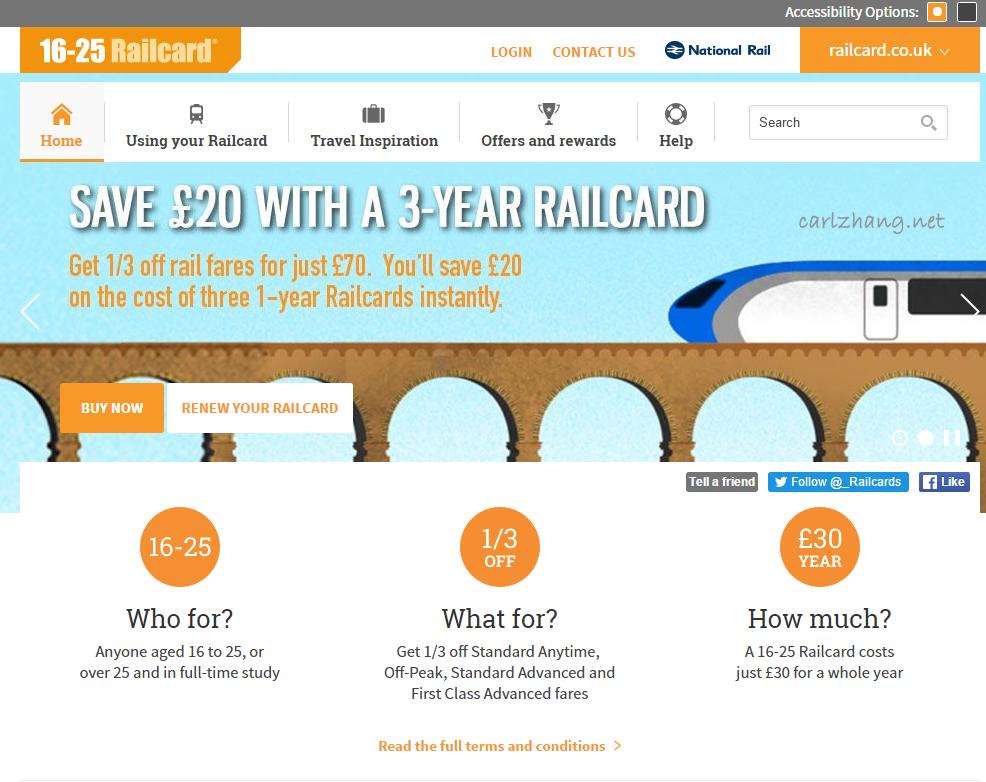 如何在网上申请英国16-25 Railcard(Young Person Card)